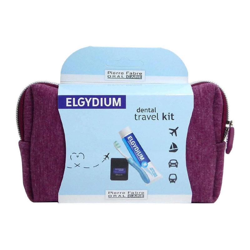 Elgydium Dental Travel Kit Μπορντώ Νεσεσέρ Ταξιδιού