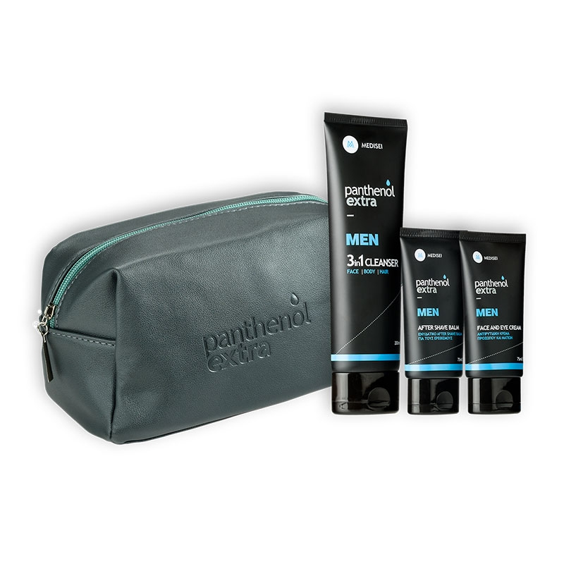 Panthenol Extra Γκρι Men Face & Eye Cream 75ml & After Shave Balm 75ml & Δώρο Cleanser 3 in1 200ml