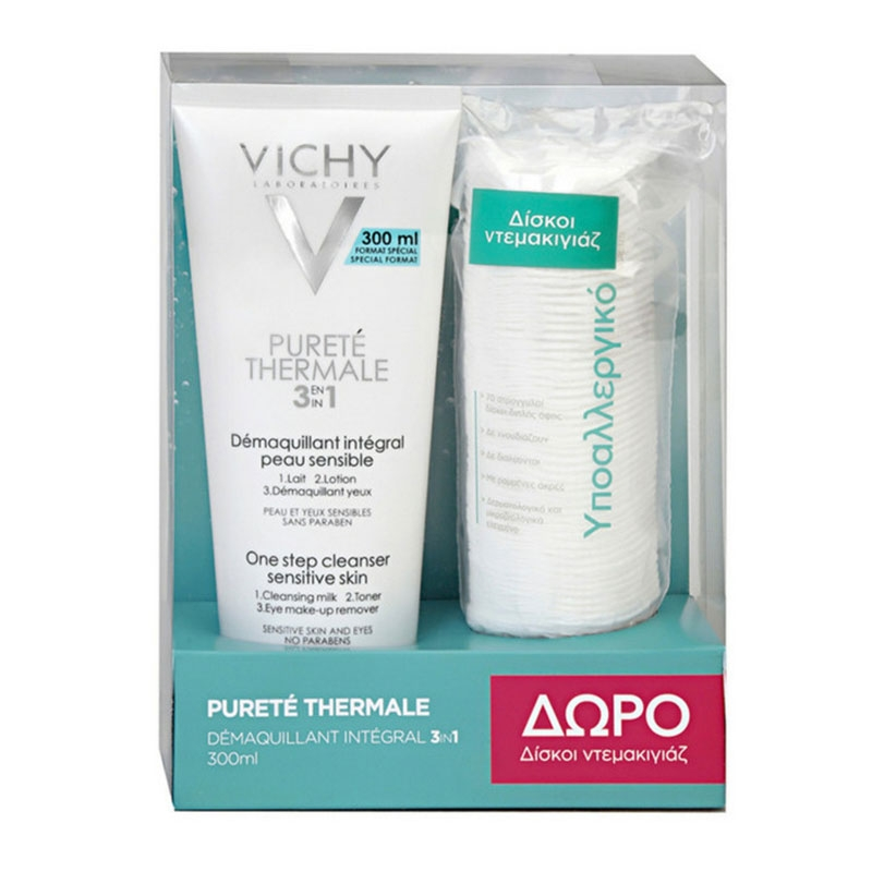 Vichy Purete Thermale 3 in 1 One Step Cleanser Sensitive Skin 300ml & Δώρο Δίσκοι Ντεμακιγιάζ