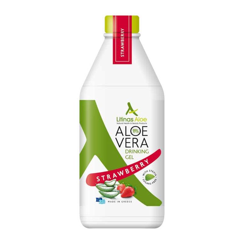 Litinas Aloe Vera Drinking Gel Πόσιμη Αλόη Βέρα με γεύση Φράουλα 1000ml