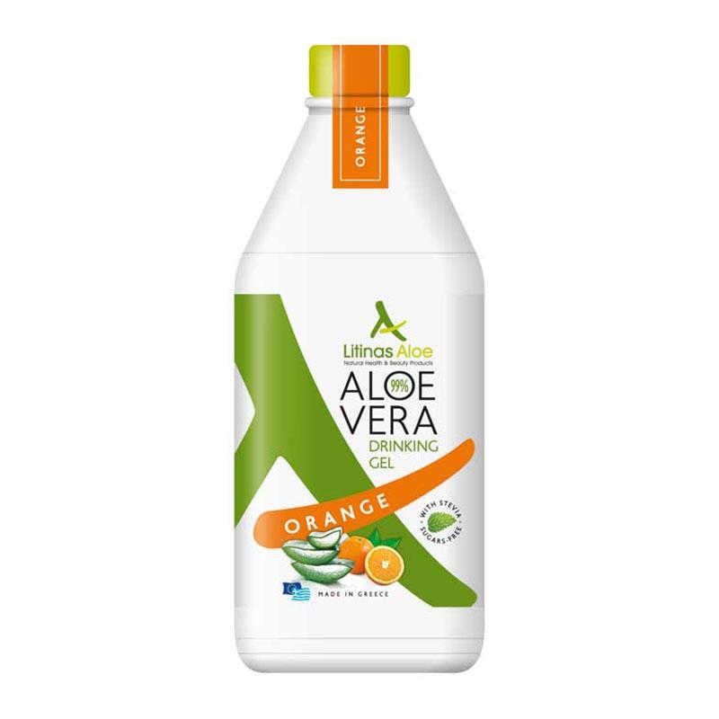 Litinas Aloe Vera Drinking Gel Πόσιμη Αλόη Βέρα με γεύση Πορτοκάλι 1000ml