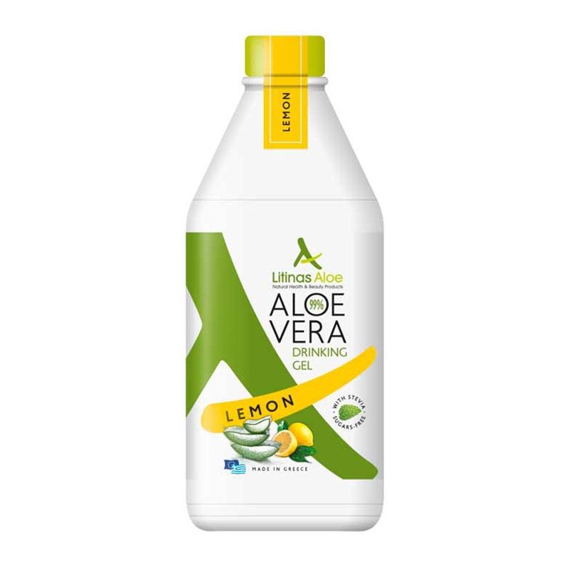 Litinas Aloe Vera Drinking Gel Πόσιμη Αλόη Βέρα με γεύση Λεμόνι 1000ml