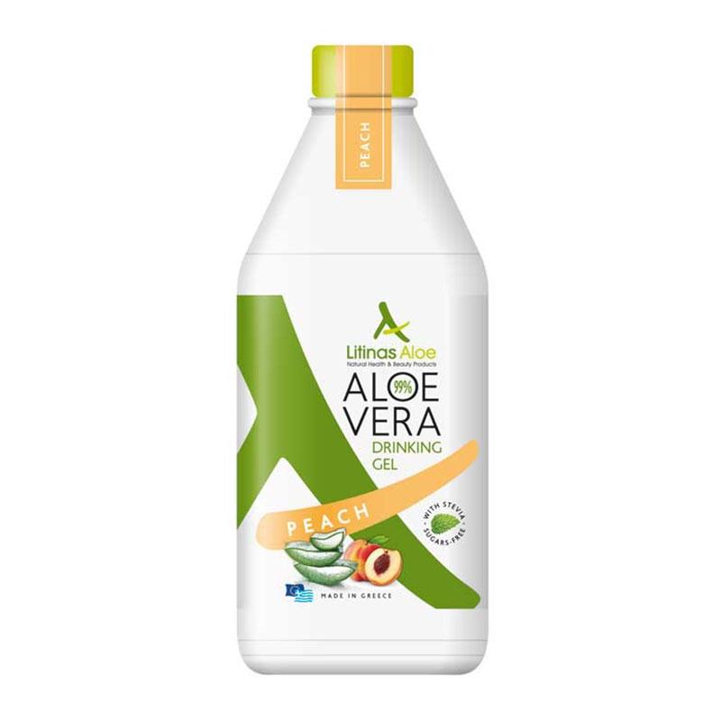 Litinas Aloe Vera Drinking Gel Πόσιμη Αλόη Βέρα με γεύση Ροδάκινο 1000ml