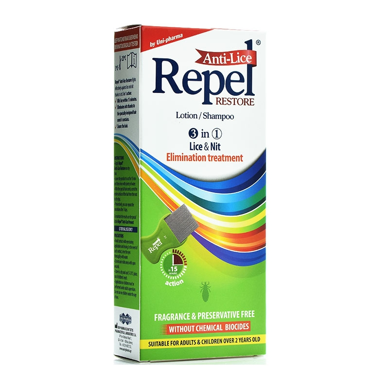 Uni-Pharma Repel Anti-lice Restore Lotion/Shampoo 3 σε 1 200gr