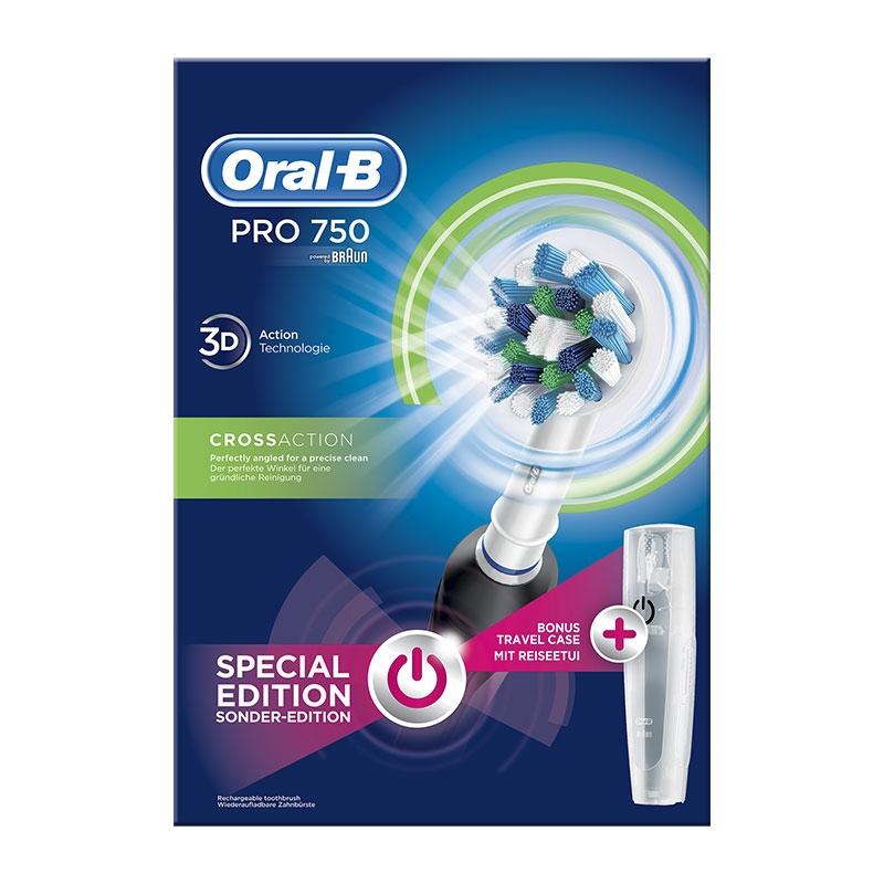 Oral-B Pro 750 Crossaction Special Edition Black & Travel Case