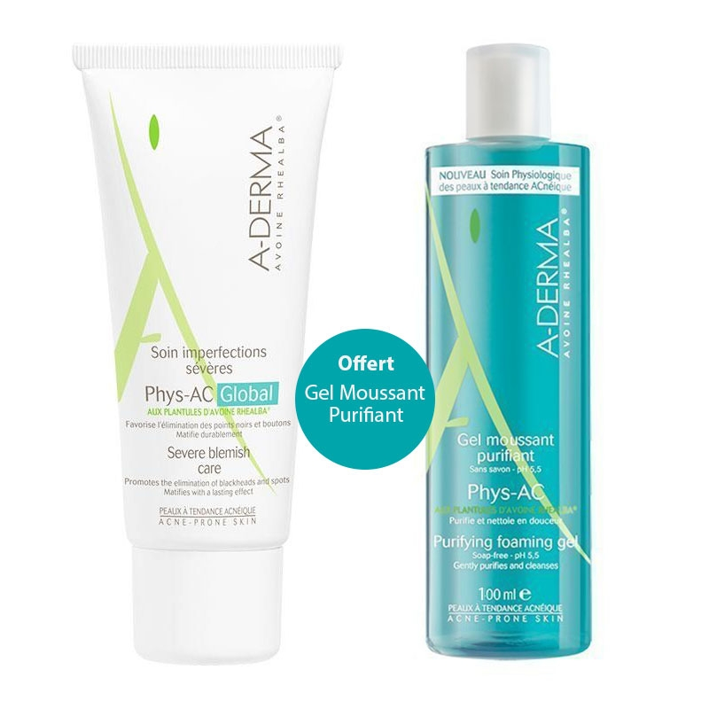 A-Derma Phys-AC Global Soin Imperfections Severes 40ml & Δώρο Phys-AC Purifying Foaming Gel 100ml