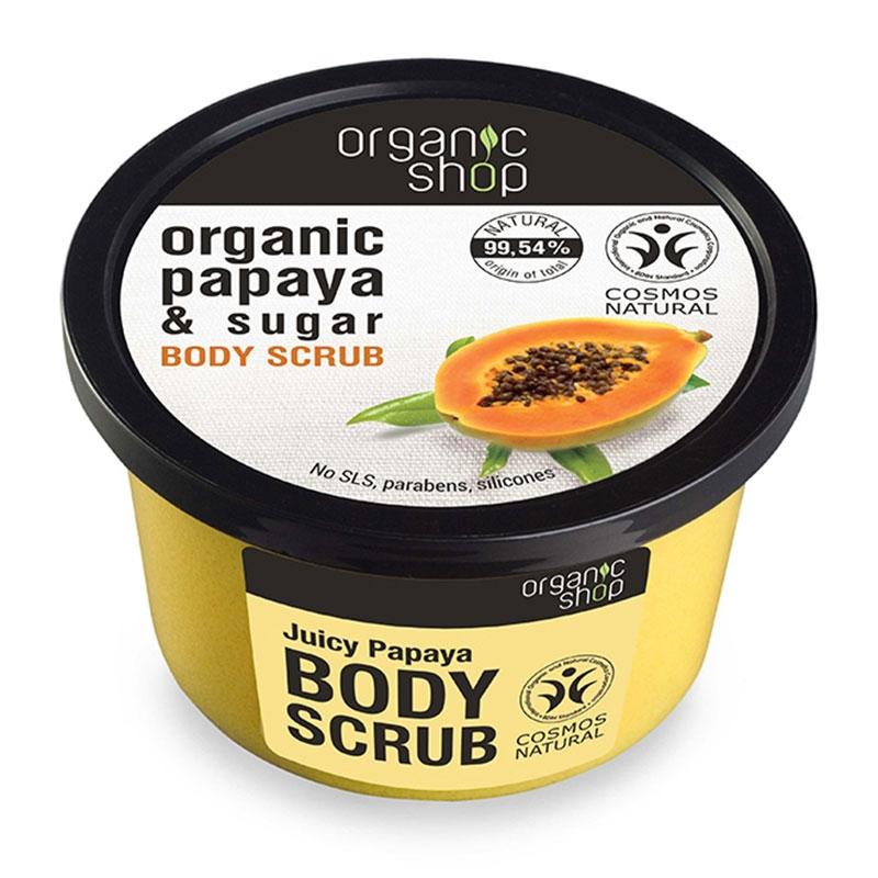 Natura Siberica Body Scrub Juicy Papaya Top Παπάγια και Ζάχαρη Scrub Σώματος 250ml