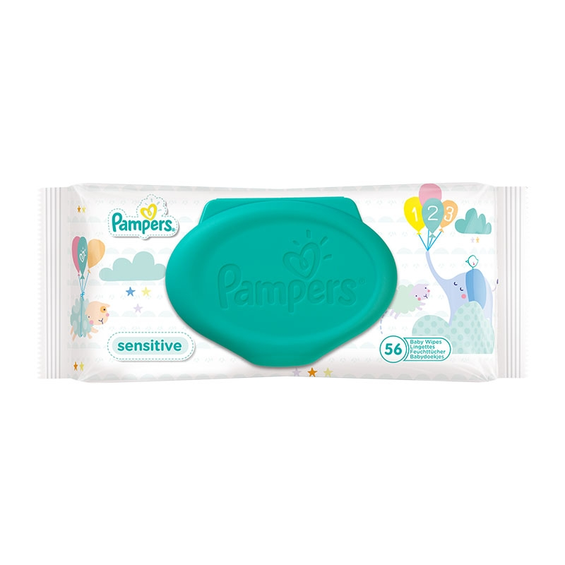 Pampers Μωρομάντηλα Sensitive με Καπάκι 56 τεμ.