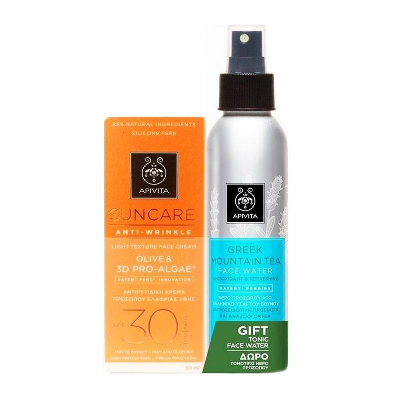 Apivita Suncare Anti-wrinkle Face Cream Olive & 3D Pro-Algae SPF30 50ml & Greek Mountain Face Water 100ml