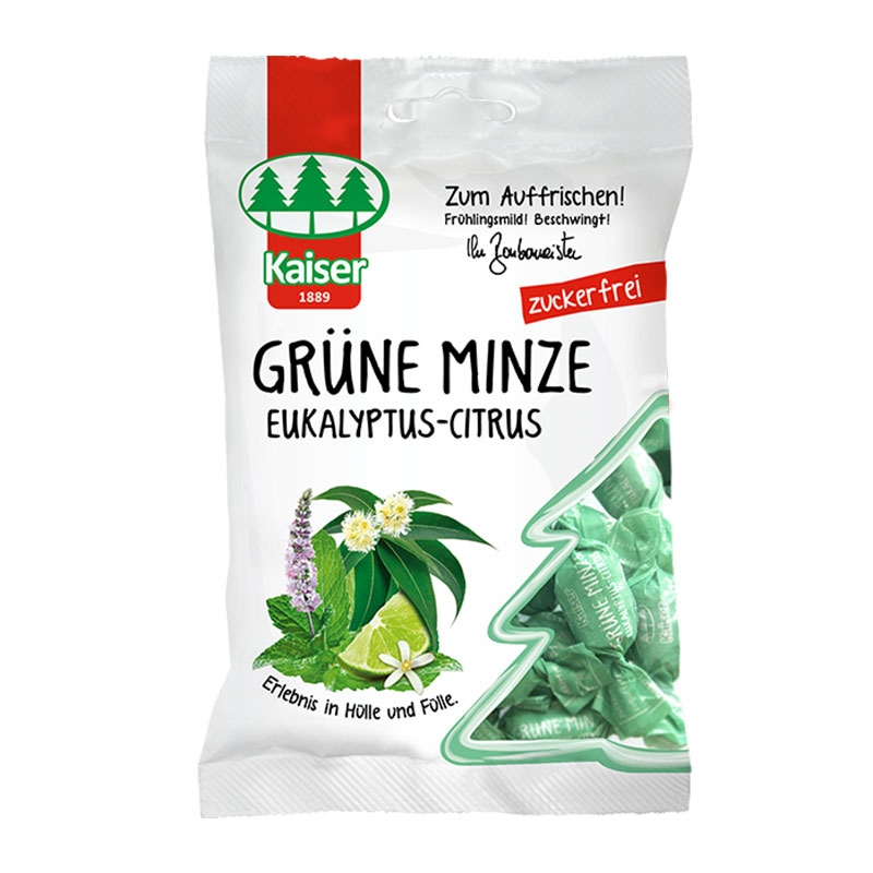 Kaiser Grune Minze Eukalyptus Citrus Καραμέλες για το Βήχα με Δυόσμο, Ευκάλυπτο & Lime 60gr