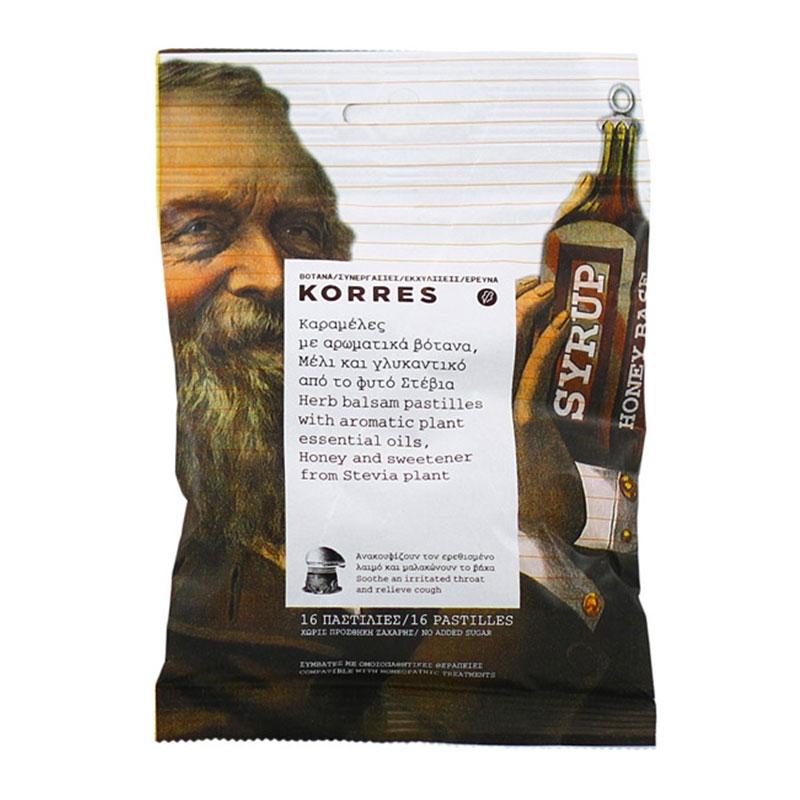 Korres Καραμέλες με Αρωματικά Βότανα Μέλι & Γλυκαντικό Στέβια 16τεμ.