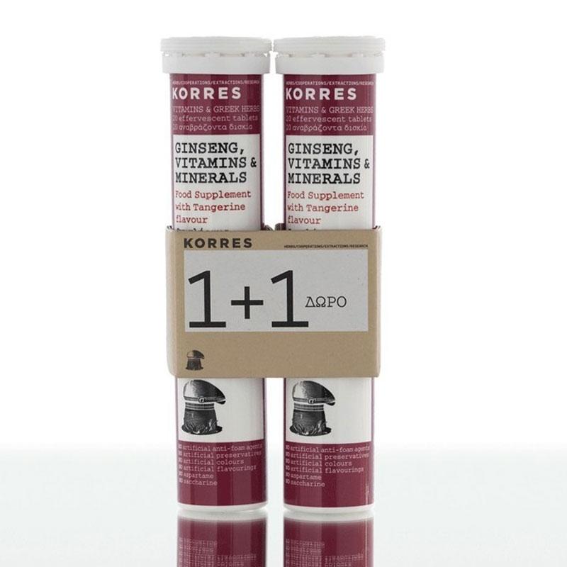 Korres Ginseng, Vitamins & Minerals 2x18 αναβράζοντα δισκία