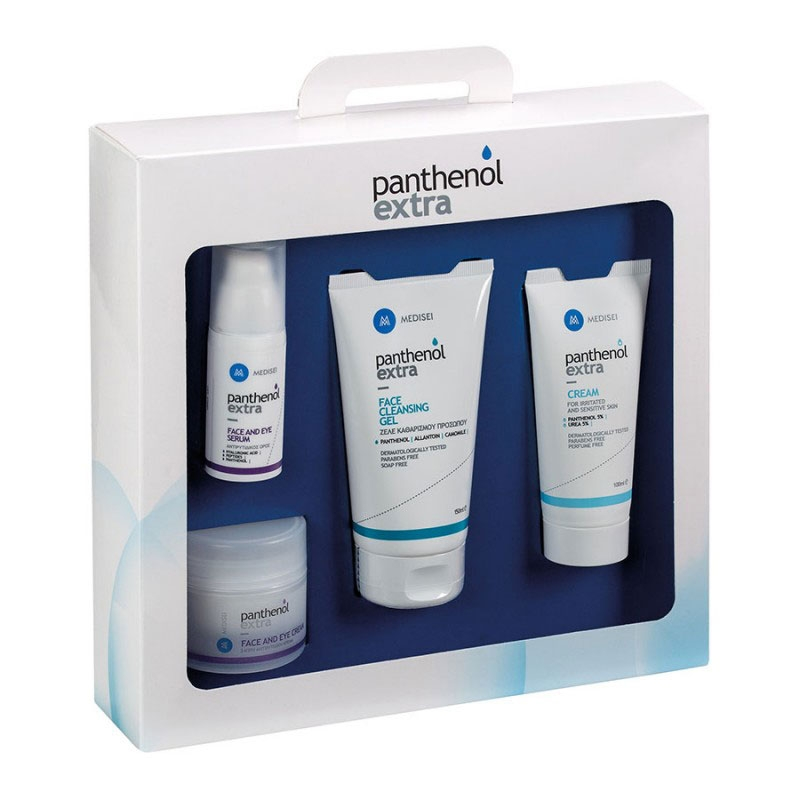 Panthenol Extra Set Αντιρυτιδικός Ορός 30ml & Τζελ Καθαρισμού Προσώπου 150ml & Κρέμα για Ερεθισμένα & Ευαίσθητα Δέρματα 100ml