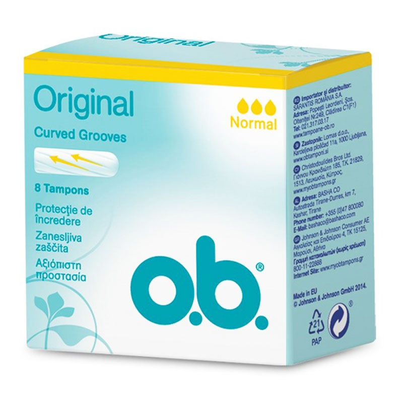 O.B. Original Curved Grooves Normal 8τεμ.