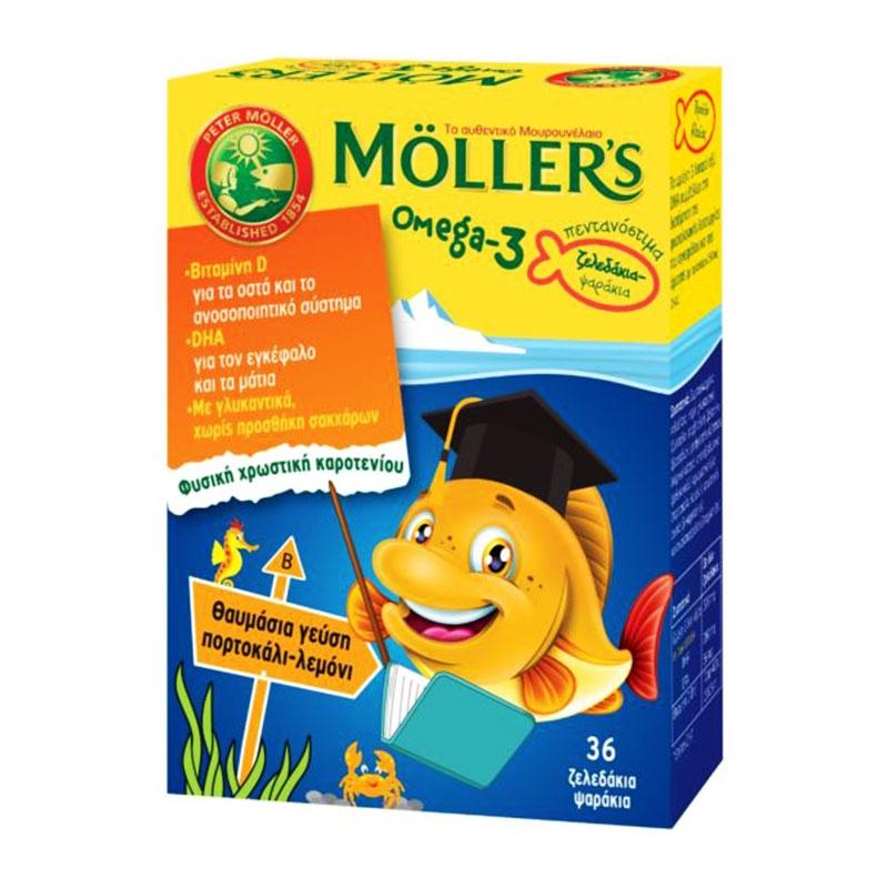 Moller`s Omega 3 για Παιδιά 36 ζελεδάκια Πορτοκάλι Λεμόνι