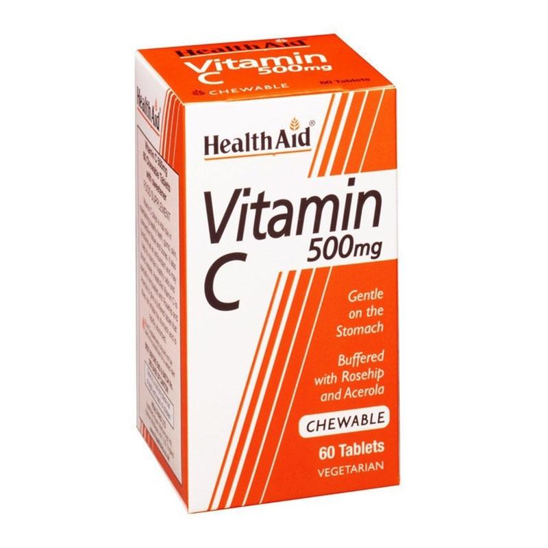 Health Aid Vitamin C 500mg 60 Μασώμενες Ταμπλέτες