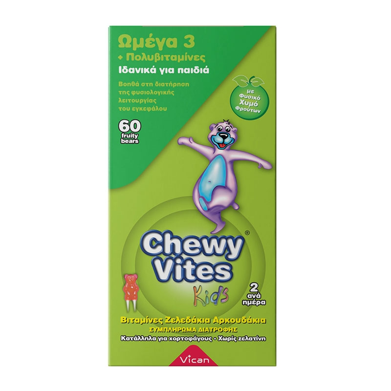Vican Chewy Vites Omega 3 & Multivitamins 60  Μασώμενα Ζελεδάκια