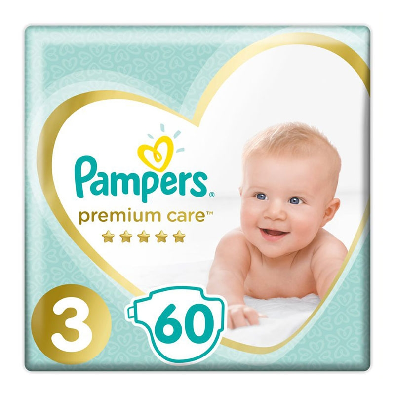 Pampers Πάνες Premium Care Jumbo No 3 (6-10kg) 60τεμ.