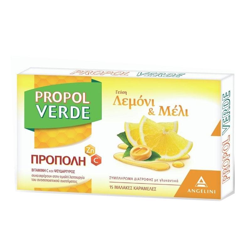 Propol Verde Natura Λεμόνι & Μέλι Μαλακές Καραμέλες 15τεμ.